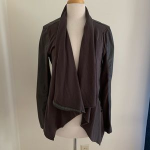 BlankNYC draped faux leather cowl neck jacket sz M